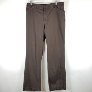 Lee Woman Pants Sz 14 Brown Comfort Waistband